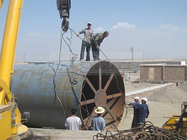 新疆库尔勒3*60米环保石灰回转窑生产线安装现场