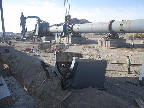 氧化铝回转窑设备的安装现场